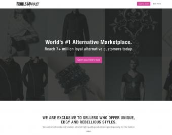 Screenshot of Rebels Market website