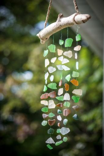 Sea glass driftwood mobile wind chime