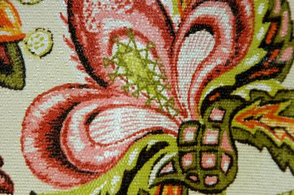 floral needlepoint pattern on canvas