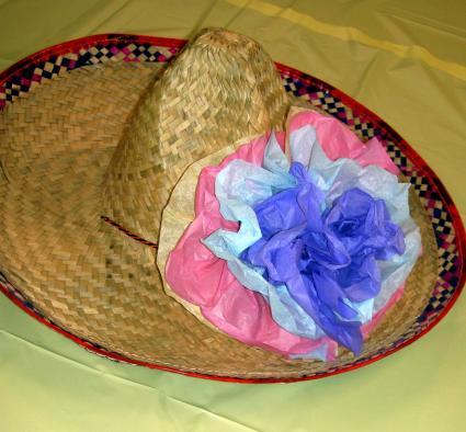 Sombrero with tissue flowers