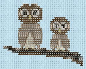 Owls on branch cross stitch pattern