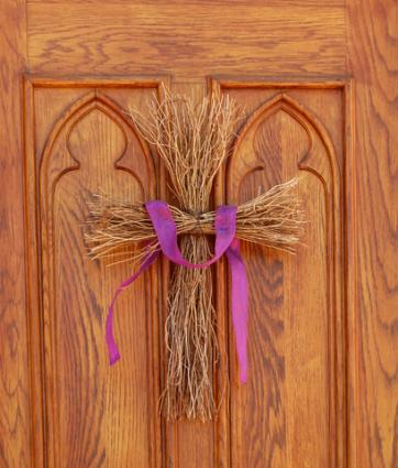 Twig door cross; Copyright Smontgom65 at Dreamstime.com