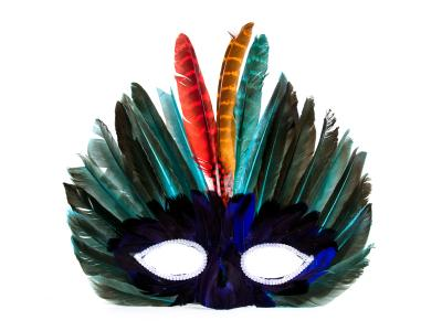 feathered mask