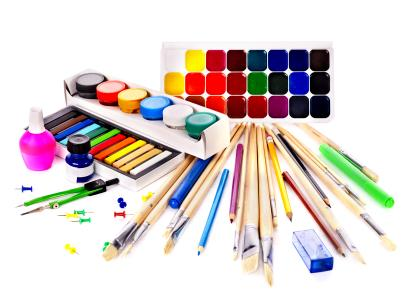Assorted coloring supplies