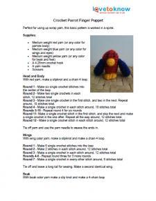 Parrot Finger Puppet Pattern