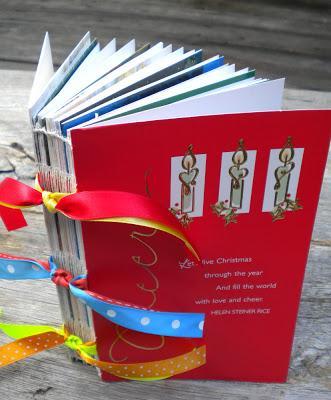 Handbound Christmas card book, photo courtesy Rhonda Miller, My Handbound Books
