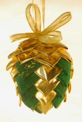 folded fabric pinecone ornament