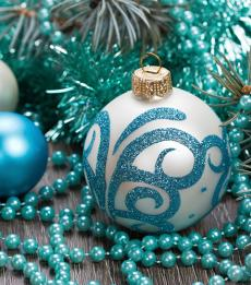 Blue Christmas ornament with glued beads