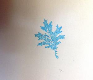 Rubber stamped leaf