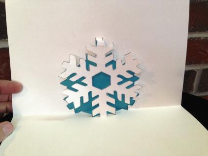 Pop up snowflake card interior