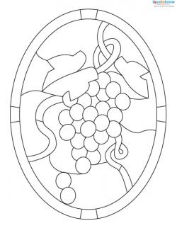 Stained Glass Pattern grapes 3