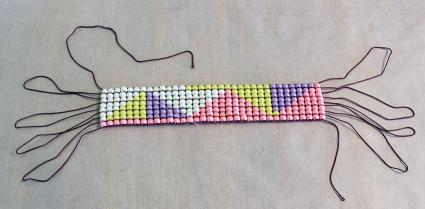bead project ready to pull warp threads