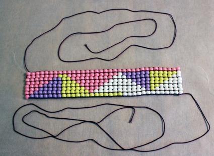 bead loom warp threads pulled through