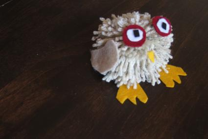finished pom pom owl