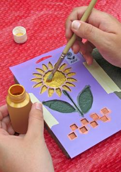 Hand stenciling with paint
