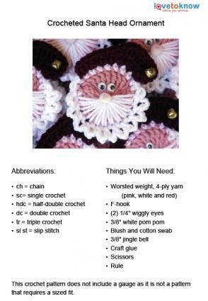 Crocheted Santa Head Ornament Pattern