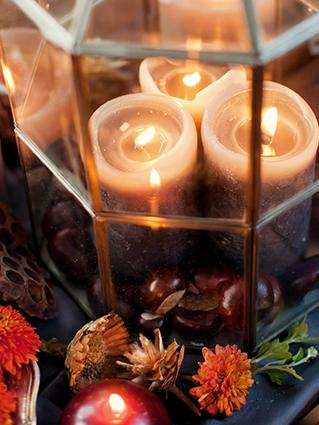 Candle lantern fall centerpiece