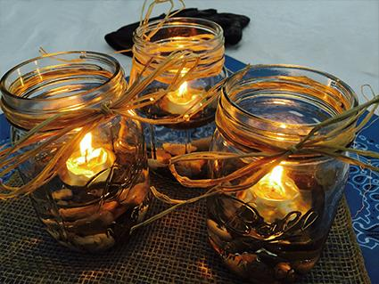 Mason Jar Floating Tea Light Centerpieces