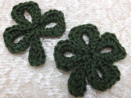 Crocheted Shamrock and 4-Leaf Clover
