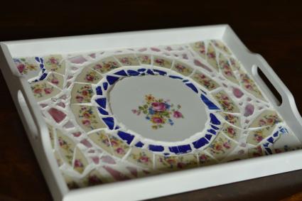 finished mosaic tray