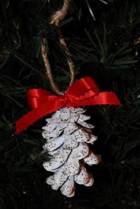 Snow Glittered Pine Cone Ornament