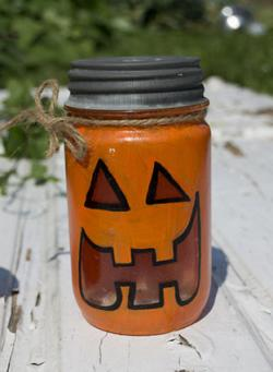 Painted Pumpkin Candy Jar