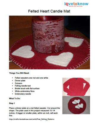 Felted Heart Candle Mat