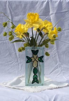 Celtic cross glass block vase