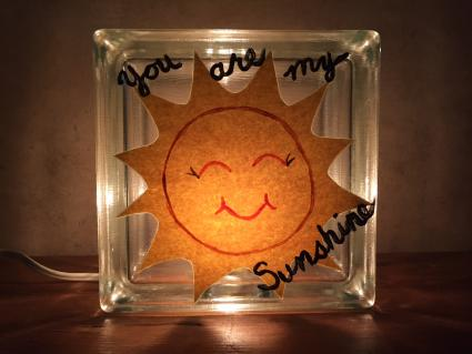 You are my sunshine glass block nightlight