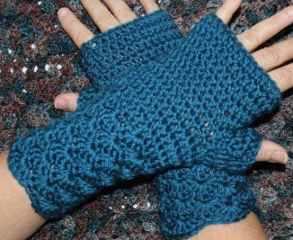 Blue crocheted wrist warmers
