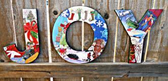 Joy decoupaged letters