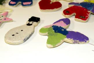 Painted dough ornaments