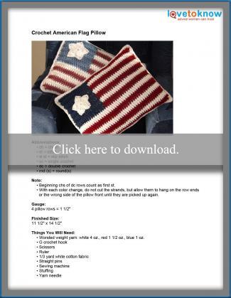 Crochet American Flag Pillow