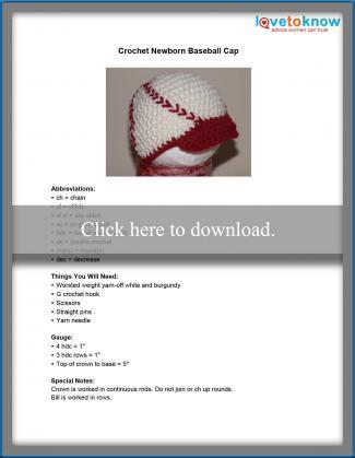 Crochet Newborn Baseball Cap