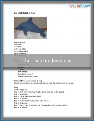 Crochet Dolphin Toy Pattern