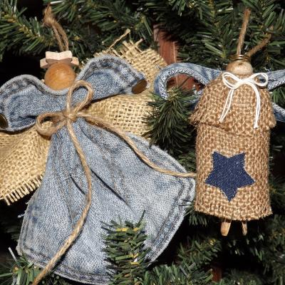 Denim and Burlap Angel Ornaments