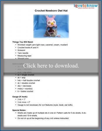 Printable Crochet Newborn Owl Hat Pattern