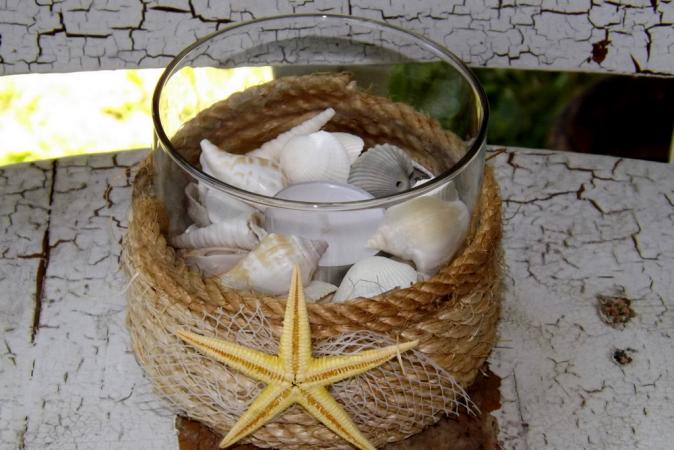 Sea Shell and Rope Candle Holder