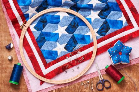 quilting hoop and patriotic quilt