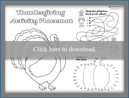image about Free Printable Thanksgiving Placemats known as Cost-free Printable Thanksgiving Placemats LoveToKnow