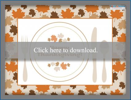 photo relating to Printable Thanksgiving Placemat named Free of charge Printable Thanksgiving Placemats LoveToKnow