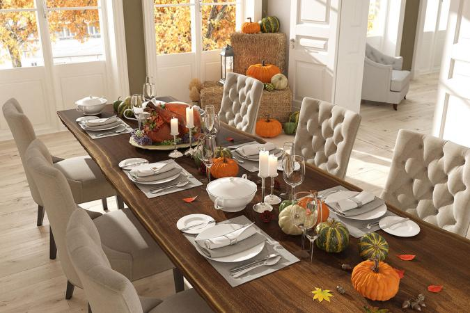 Table set for Thanksgiving dinner