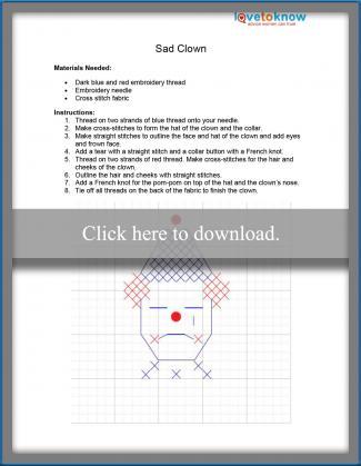 sad clown cross stitch pattern