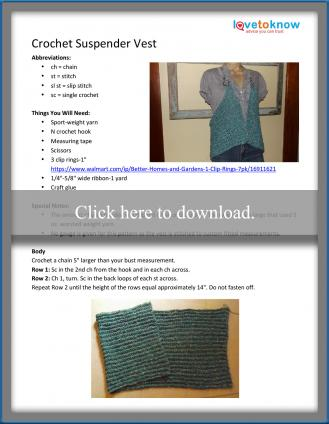 Crochet Suspender Vest Pattern