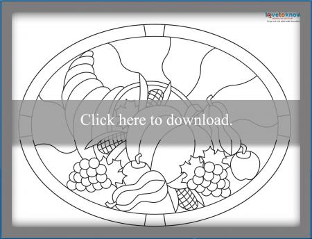 Thanksgiving stained glass cornucopia pattern