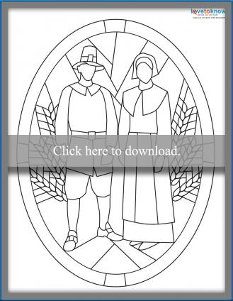 Thanksgiving stained glass pilgrims pattern