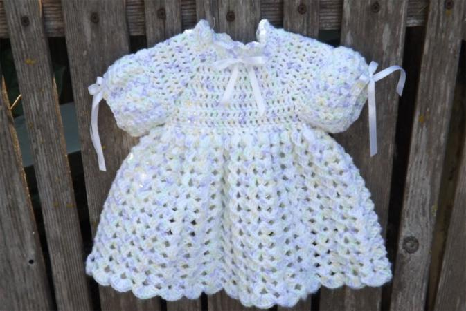 Baby-doll style crocheted baby dress