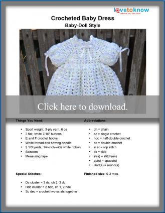 b53351e4800e Crocheted Baby-Doll Style Dress Pattern. The pattern size for this crocheted  dress is 0-3 months.