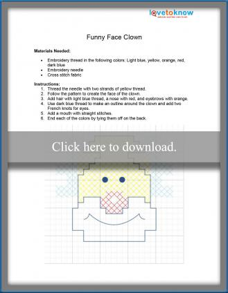 happy clown cross stitch pattern