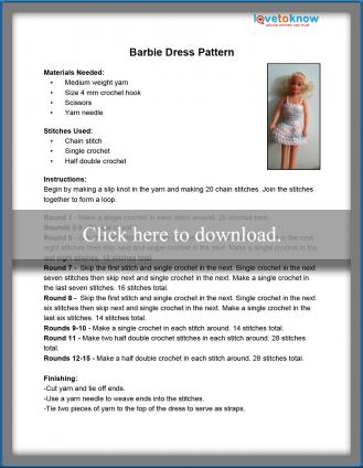 image about Barbie Dress Patterns Free Printable Pdf identify Cost-free Crochet Barbie Apparel Routines LoveToKnow